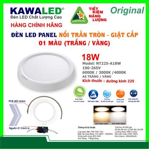 ĐÈN LED NỔI TRẦN TRÒN GIẬT CẤP 1 MÀU NT225-A18W-T/V/TT