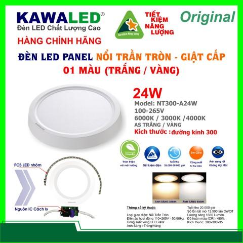 ĐÈN LED NỔI TRẦN TRÒN GIẬT CẤP 1 MÀU NT300-A24W-T/V/TT