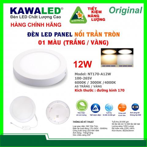 ĐÈN LED NỔI TRẦN TRÒN 1 MÀU NT170-12W-T/V/TT