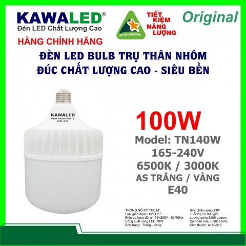 ĐÈN LED BULB TRỤ THÂN NHÔM TN140-100W-T E40
