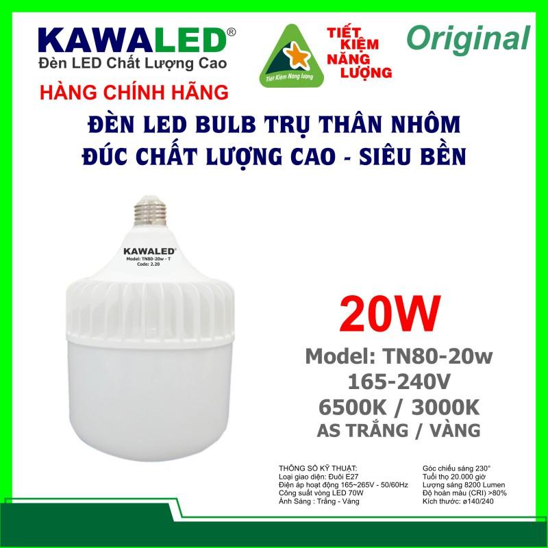 ĐÈN LED BULB TRỤ THÂN NHÔM TN80-20W-T/V E27