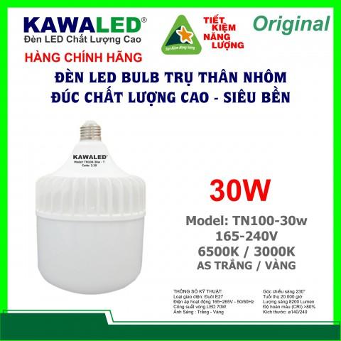 ĐÈN LED BULB TRỤ THÂN NHÔM TN100-30W-T/V E27