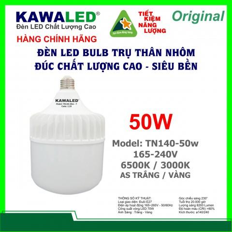 ĐÈN LED BULB TRỤ THÂN NHÔM TN140-50W-T E27