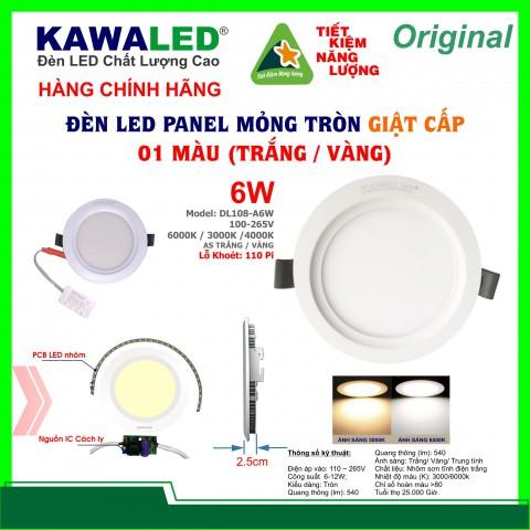 ĐÈN LED MỎNG GIẬT CẤP 1 MÀU  DL108-A6W-T/V/TT